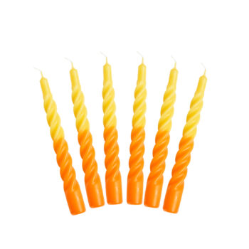yellow and orange twisted candles