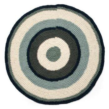 crochet floor mat blue